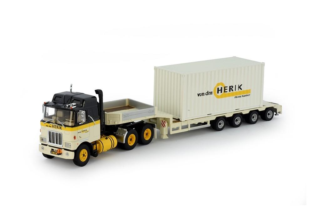 Mack F700  Semi Tieflader Container Herik Van der
