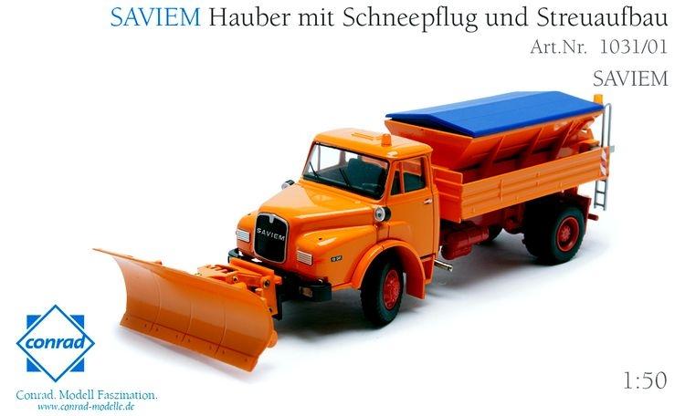 Saviem HAK 19.241 Hauber mit Schneepflug und Streuaufbau