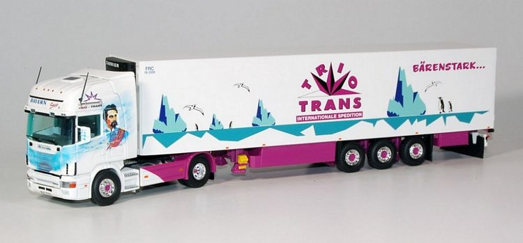 Scania 4 Topline  Kuehlauflieger Trio Trans