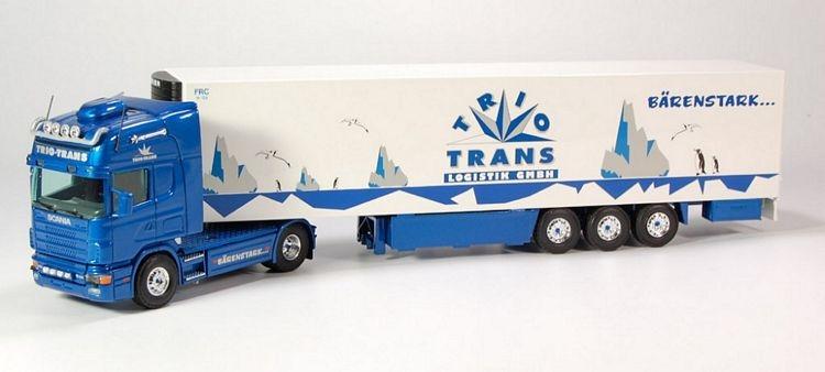 Scania 4 Topline  Kuehlauflieger Trio Trans blau