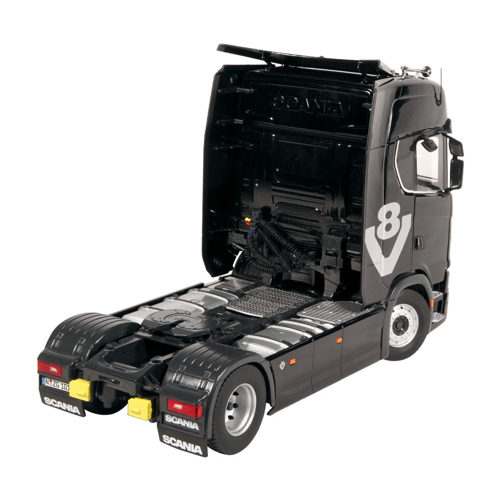 Scania 730S schwarz V8  Lohr Autotransporter 1:18
