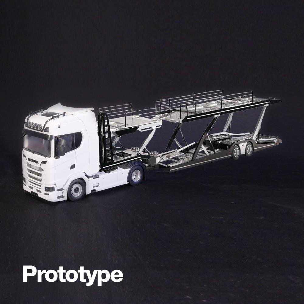 Scania 730S weiß  Lohr Autotransporter 1:18