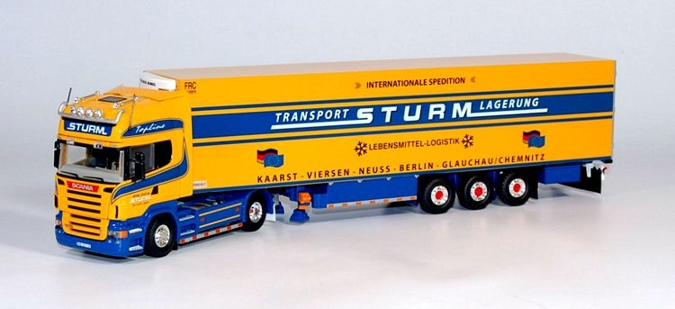 Scania R500 Topline 4x2 truck with reefer semitrailer Sturm