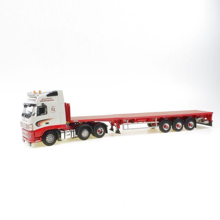 VOLVO FH12 6x2 CARLINN STEEL transport flat trailer